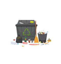 Pile of trash garbage glass metal and paper vector