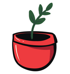 plant in red pot on white background vector image