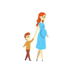 pregnant woman walking with her son happy family vector image