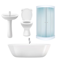 realistic bathroom icon set vector image