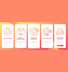 Reasons for consumerism red gradient onboarding vector