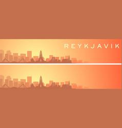 Reykjavik beautiful skyline scenery banner vector