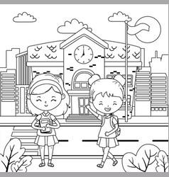 School building and girls design vector
