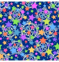 Seamless Pattern Stars and Snowflakes vector image