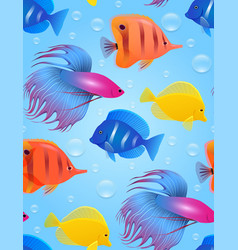 Seamless texture with sea tropical fish and vector