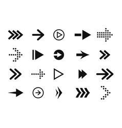 set arrows forward and back black arrow icons vector image