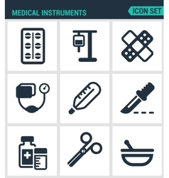 Set modern icons Medical instruments pills vector image