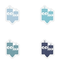 Set of paper stickers on white background candle vector