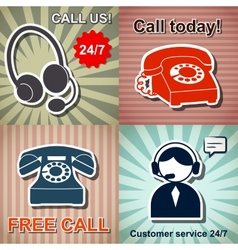 Set of retro phone banners vector image