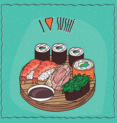 set of three different types of sushi rolls vector image