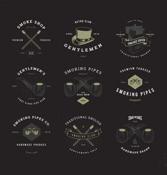Smoking pipes logo set invert vector