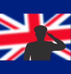 solder silhouette on blur background with britain vector image
