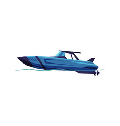 Speedboat blue sailboat modern nautical vector
