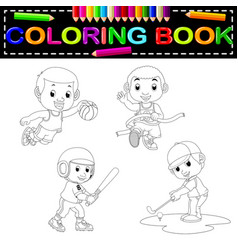 sport coloring book vector image