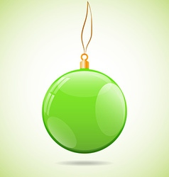 Square with green shiny christmas ball vector image