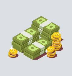 Stacked pile of cash with coin vector