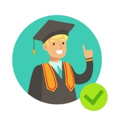 Student In Graduation Mantle Insurance Company vector