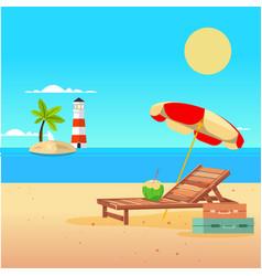 summer beach umbrella chair lighthouse background vector image