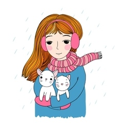 The young beautiful girl with two cute little vector