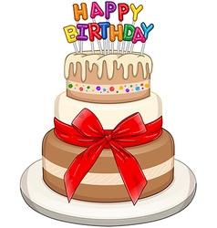Three Floors Happy Birthday Cake vector image