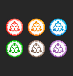 three people heart icon set design vector image