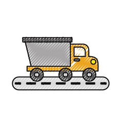 tipper truck construction street transport vector image