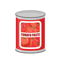 Tomato paste tin can canned food with tomatoes vector