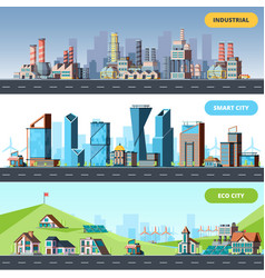 town flat ecology industrial smart city vector image
