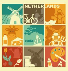 Traditional symbols netherlands vector