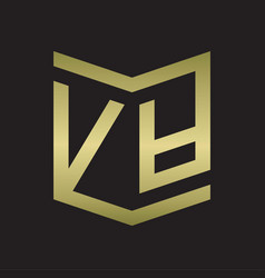va logo emblem monogram with shield style design vector image