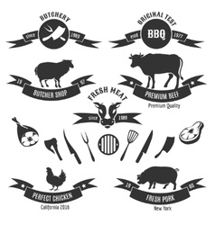 Vintage butchery shop labels vector