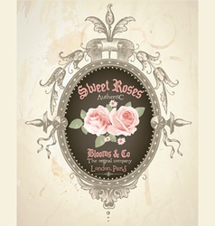 Vintage rose frame vector