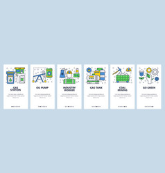 Web site onboarding screens power energy industry vector