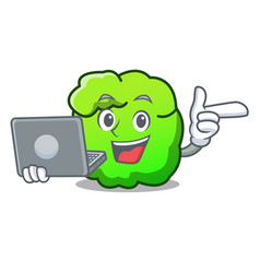 With laptop shrub character cartoon style vector