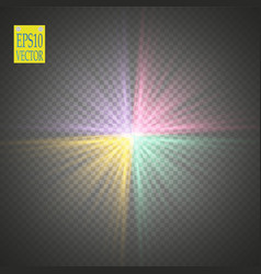 glow light effect colored starburst with sparkles vector image