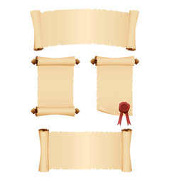set of old parchment scrolls vector image