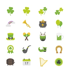 St Patricks Day Flat Color Icons vector image vector image