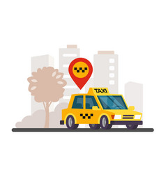 taxi in the city panorama vector image