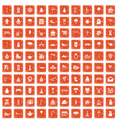 100 winter holidays icons set grunge orange vector image vector image