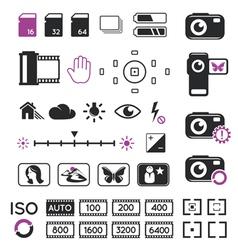 Camera display icons and symbols vector image vector image
