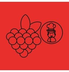 Cartoon chef gourmet grape vector