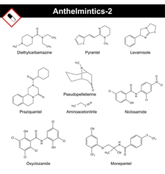 Chemical formulas of anthelmintic drugs vector image vector image