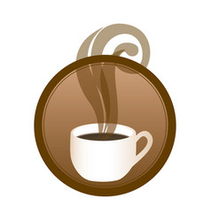 circular emblem with hot cup of coffee vector image vector image