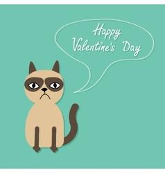 Cute sad grumpy siamese cat and speech bubble in vector image vector image