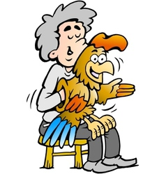 Hand-drawn of an A ventriloquist entertains with vector image