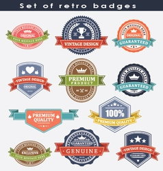Set of retro badges and labels vector