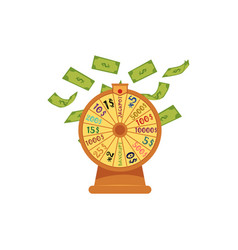 Wheel of fortune with money flying falling down vector