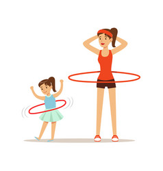 Woman and girl spinning a hula hoop around the vector