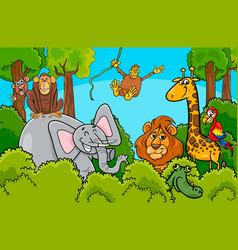cartoon wild animal characters group vector image