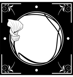 frame with lily vector image